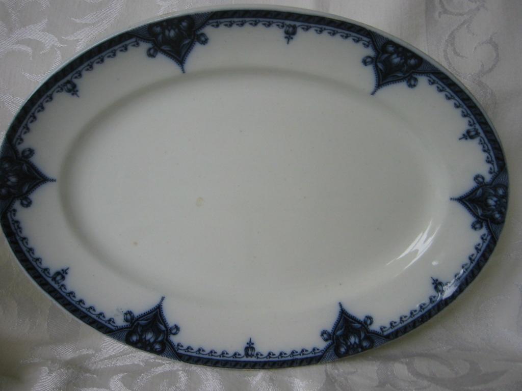 Wonderful Staffordshire Flow Blue Platter  Tulip Pattern  Gibson & Son 1912