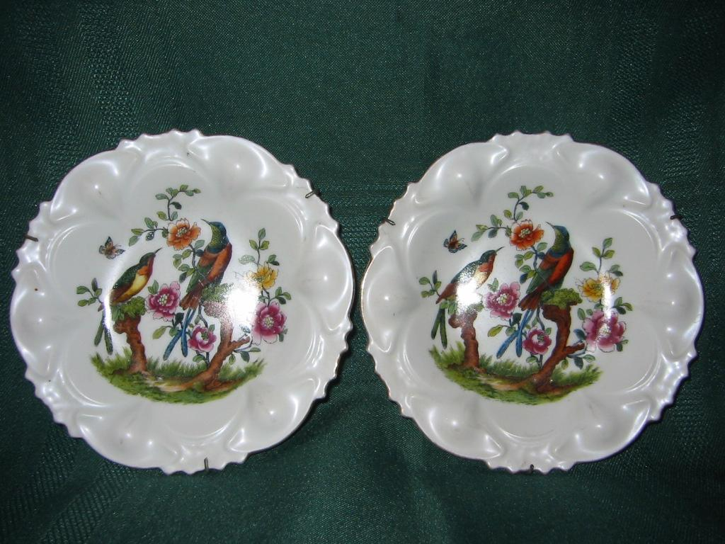 Pair of Small Matching Wall Hanging Porcelain Bird/Floral Dishes