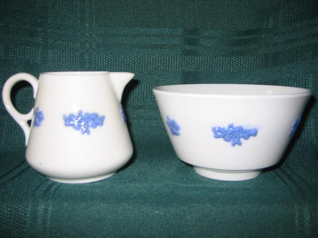 Small Chelsea Grape Leaf Creamer and Open Sugar    Adderley's