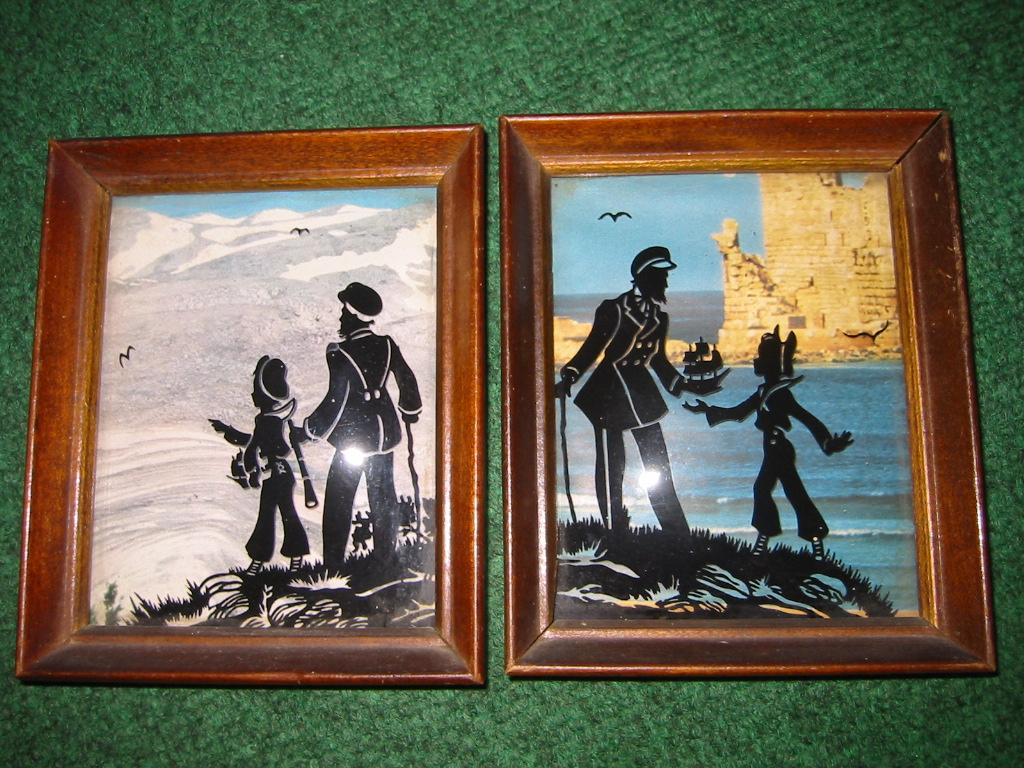 Vintage Wooden Framed Pair of Reverse Painted Silhouettes