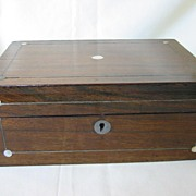Victorian Wooden Box  with Mother of Pearl Decoration