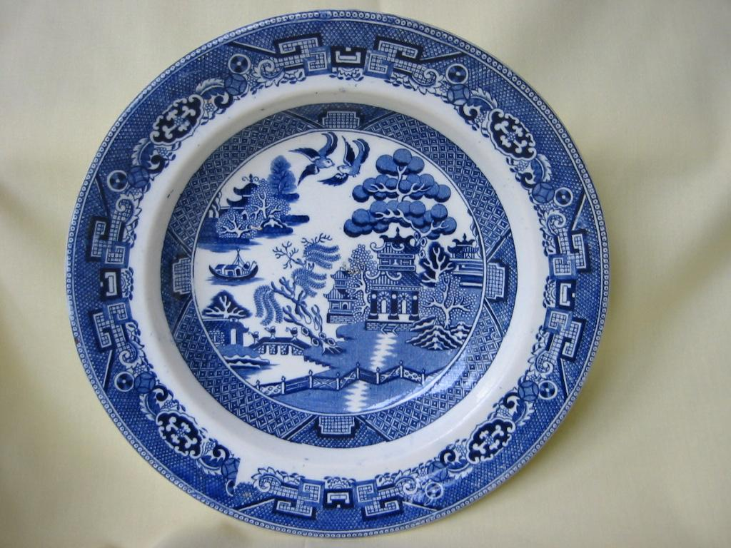 Blue Willow Bowl   Traditional Pattern    by  J. & M. P.  Bell Co.