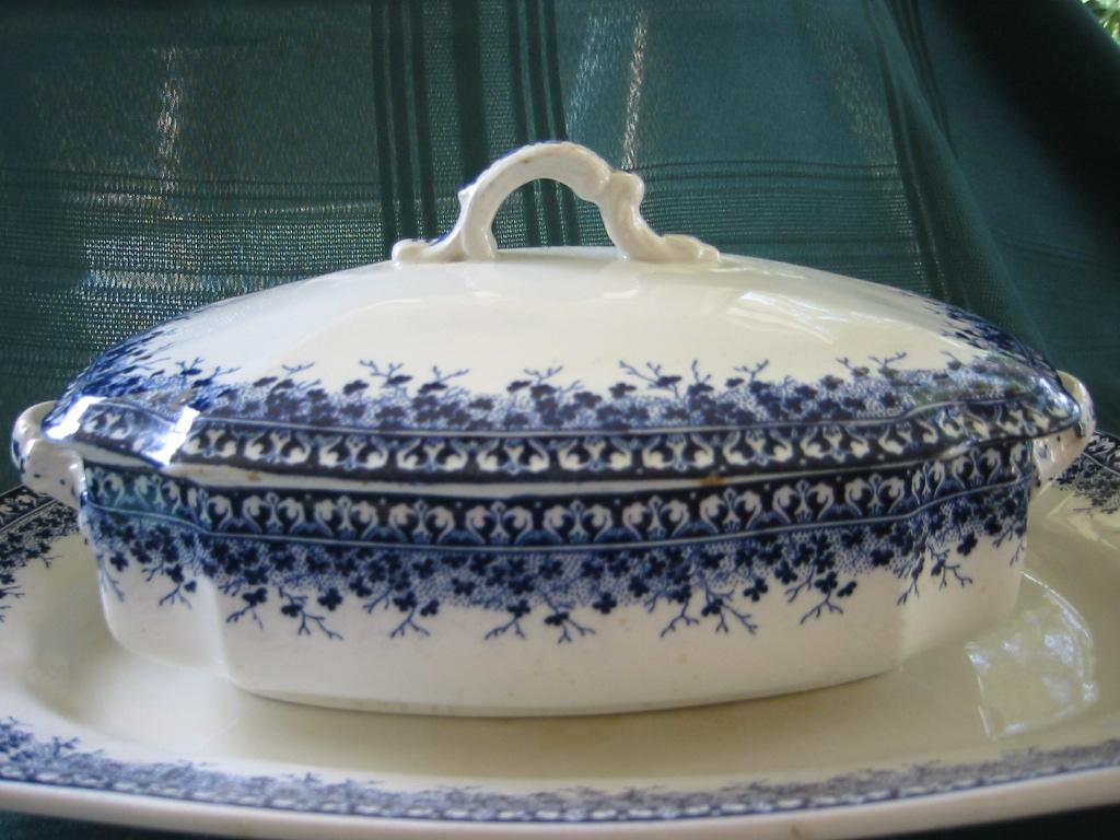 "Antique Earthenware Transferware Covered Vegetable Dish with Platter   Brownfields & Son   Pattern "" Ayr"" 1800's"