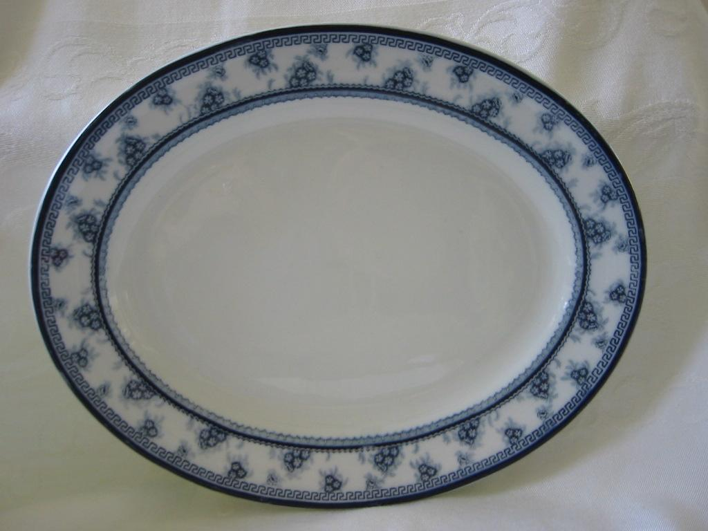 "Staffordshire Blue and White Platter  by Woods and Sons  Pattern "" Torbrex"""