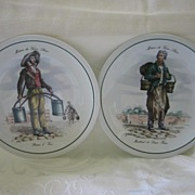 """Two Paris Figure Plates 7 1/4"""""""