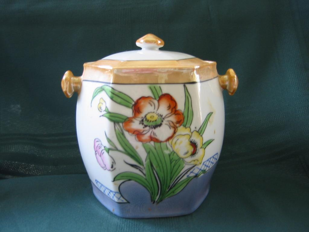 Japanese Luster Biscuit Barrel with Lid