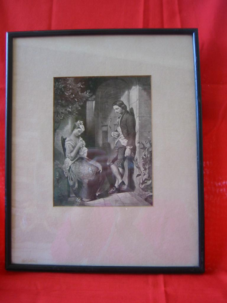 Framed Vintage Black & White Print of 1800's Couple