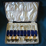 Set of Six Apostle Sugar Spoons with Tongs -   Nickle Plate