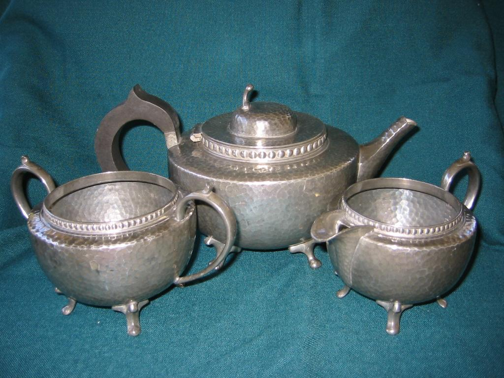 English Hammered  Pewter Tea Set