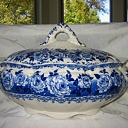 Flow Blue Tureen - Roses - Keeling & Co. 1903
