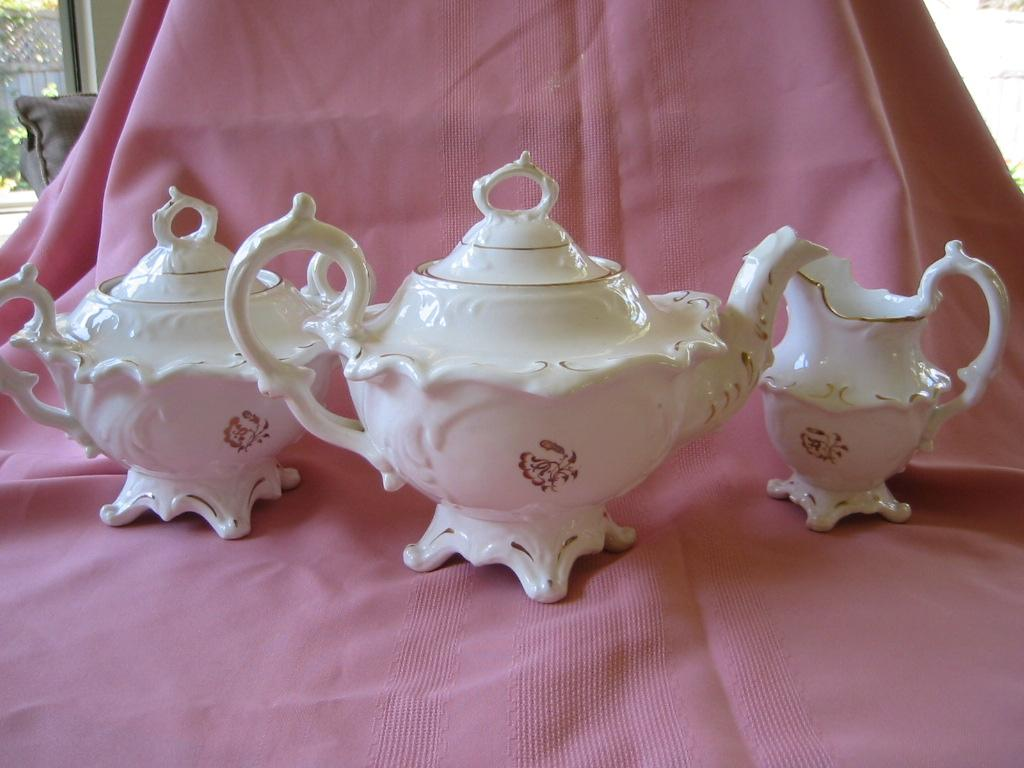 Victorian Style Three Piece Tea Set - Teapot, Sugar, & Creamer
