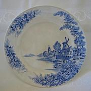 """Flow Blue Windmill Landscape Scene Plate 10"""""""