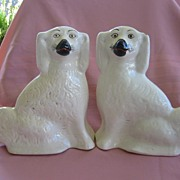 Antique Pair of Medium Size White Staffordshire Dogs