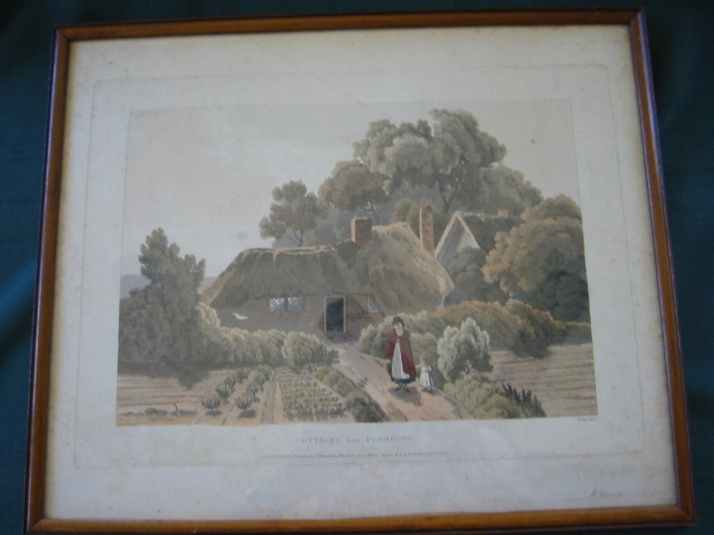 "Very Old  Wood  Glassed Framed English Print ""Cottage Near Plymouth"""