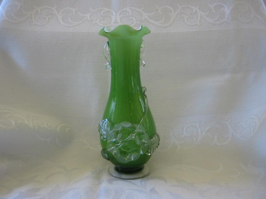 Vintage Green Art Glass Vase with Applied Decoration