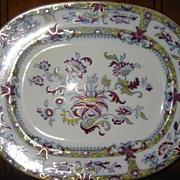 "Printed Oval Platter Oriental Design 13 1/2"" x 11"""