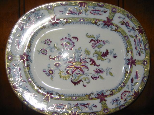 "Printed Oval Platter Oriental Design 13 1/2"" x 11"""