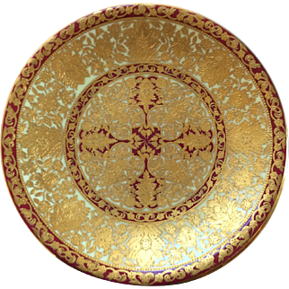 Set 6 Royal Crown Derby Red and Raised Gilt Dessert/ Cabinet Plates: Gilman Collamore