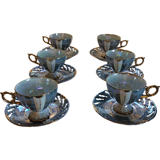 Vintage Set of 6 Serenity Blue, Pearlized and Gilt tea cups Ohashi China 1932: Golden Fantasy pattern