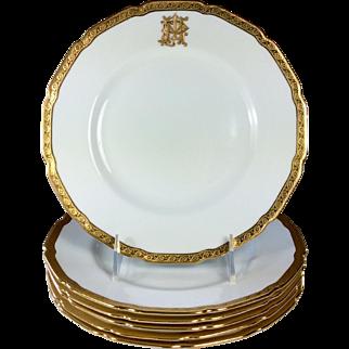 Antique Royal Doulton Dessert/Salad/Luncheon Plates Gilt and White set 6