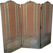Antique Louis XV Style French Screen Tri-Fold with Scalamandre Fabric Upholstery