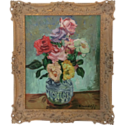 French Impressionist Oil Painting 20th Century Signed R. Mendoze Tea Roses in Blue and White Vase