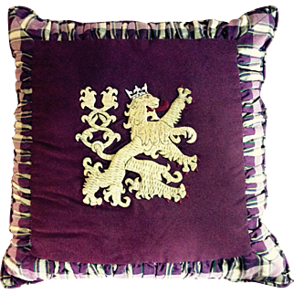 Vintage Silk Pillow Featuring Gold Rampant Lion Crest and Tartan Plaid