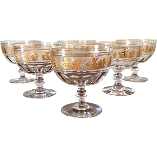 Antique Val Saint Lambert Beaudoin: Danse De Flore Gilt Crystal Dessert Bowls set 6