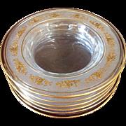Antique Val Saint Lambert Beaudoin: Danse De Flore Gilt Crystal Dessert: Salad Plates