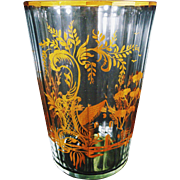 Bohemian Crystal and Gilt Vase/ Ice Pail/ Wine Bucket: Bar Ware