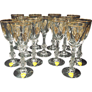 Tiffin Palais Versailles White Wine Crystal with Gilt Goblets Set of 10