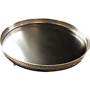 Barware: Mid Century Silver Plate Large Round Serving Tray With Gallery
