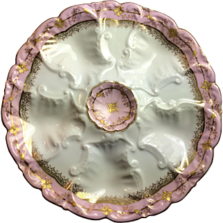 Antique Limoges Pink and  Raised Gilt  Oyster Plate