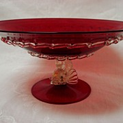 Ruby Venetian/Murano Glass Centerpiece Bowl with Dolphin Base