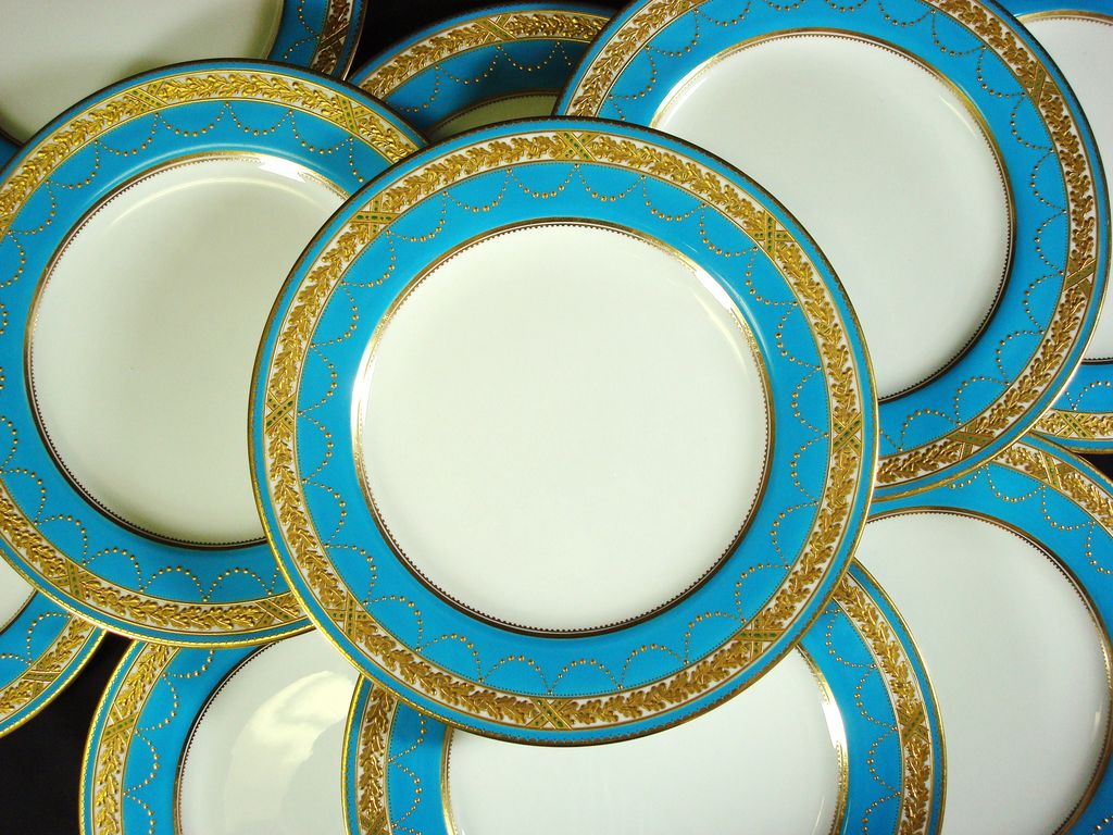 Spode Turquoise Dinner Plates Raised Gilt And Jeweled