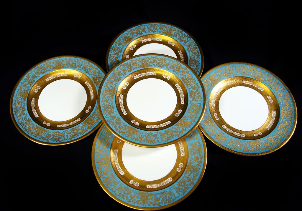 Crown Staffordshire Turquoise And Gilt Dinner Plates Set 12