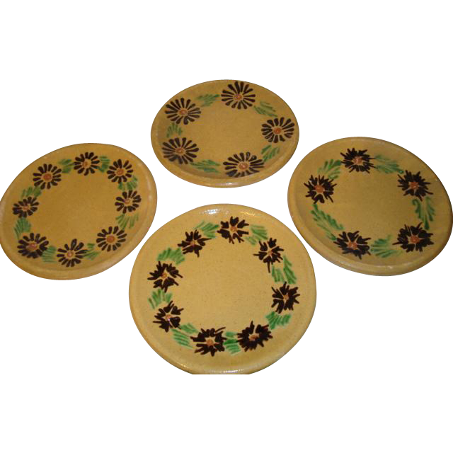 Set of 4 French old brown glazed handpainted plates from Alsace France