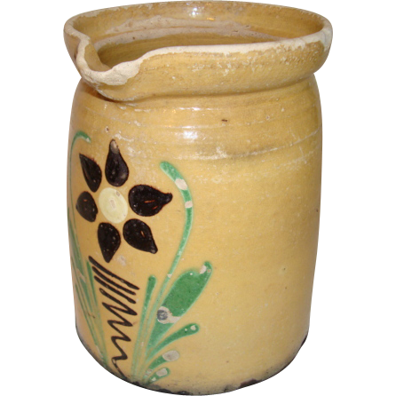 Authentic yellow hand painted French Alsatian milk jug, 19th century