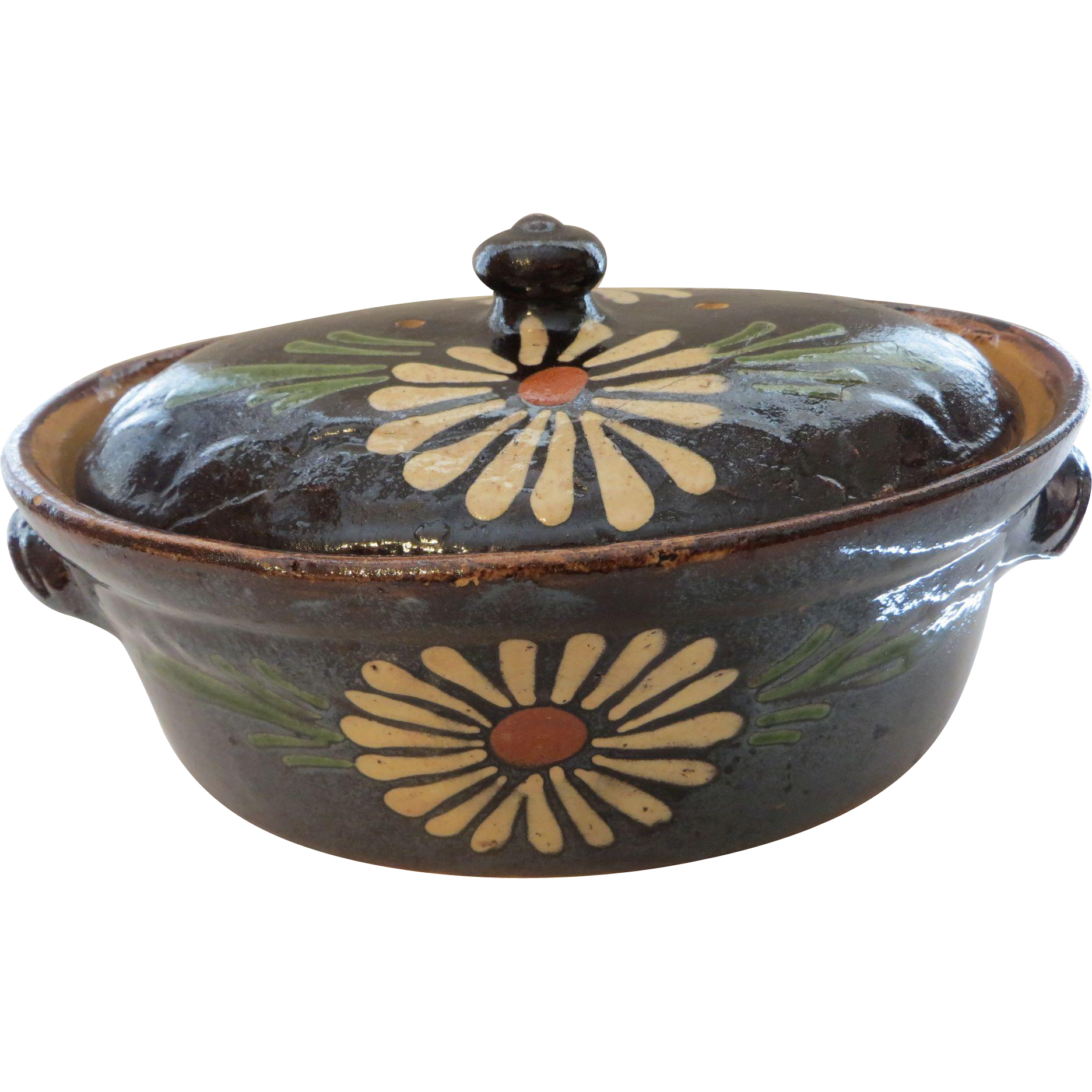 Authentic French brown hand painted Alsatian tureen circa 1880 Eastern France