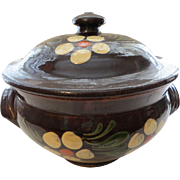 Authentic French brown hand painted Alsatian tureen circa 1900 Eastern France