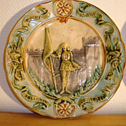 Old French green majolica plate Joan of Arc