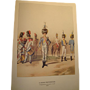 Old print Napoleon Imperial guard uniforms, Edit 1968, Grenadiers a pied 1810