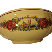Large French salad bowl by Obernai Sarreguemines Alsatian decor