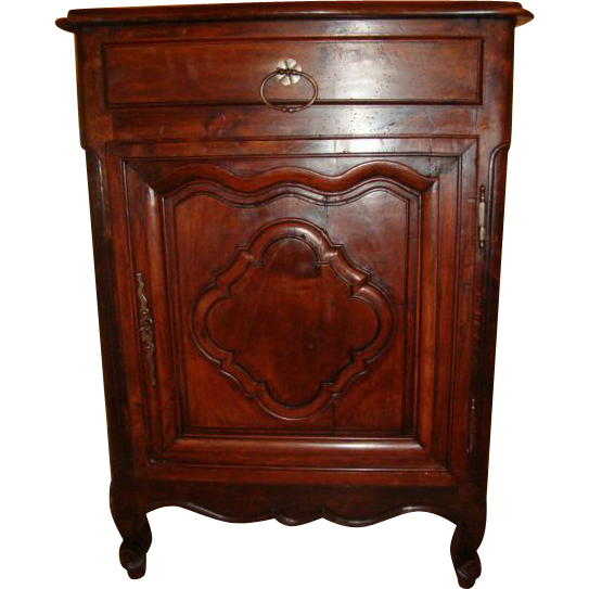 French Louis XV confiturier cabinet, walnut, one door, one drawer, circa 1840