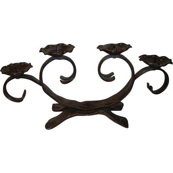 Old French wrought iron candelabra, for four candles