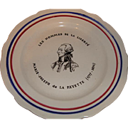 Old French plate Marquis de La Fayette, Limited edition