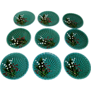 Set of 9 old German green majolica plates with lily of the valley Schramberg
