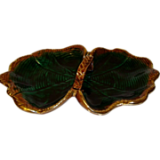 Large French green majolica barbotine bowl plate with handle