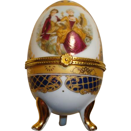 Authentic French hand painted porcelain egg box trinket signed Movitex