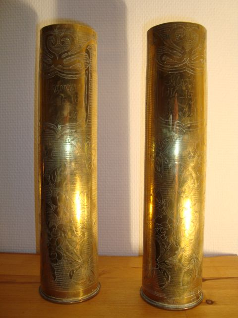 Pair of  French WWI Trench Art Artillery Shells  shield battle of Argonne